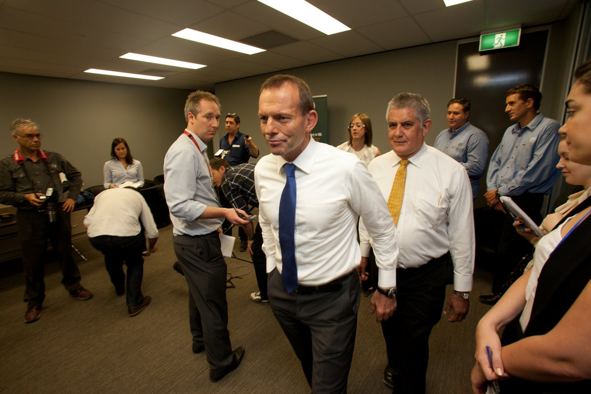 Opposition Leader Tony Abbott ends a press conference in Perth.