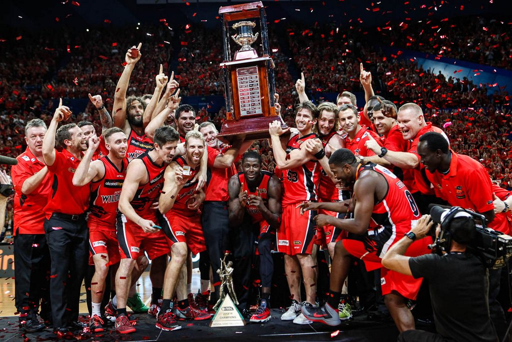 NBL Grand Final 2014 The Perth Wildcats lift the trophy.