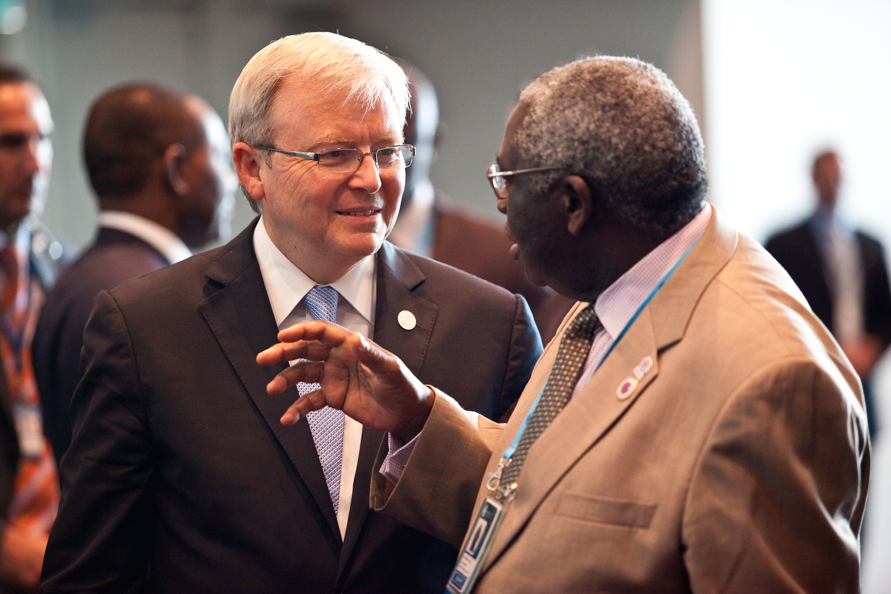 Kevin Rudd speaks to foreign ministers at CHOGM in Perth, 2011.