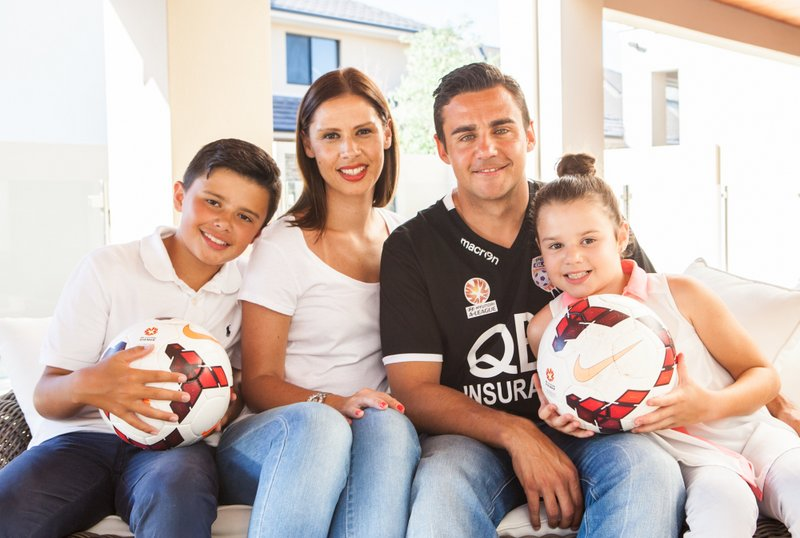 Perth Glory player Travis Dodd with his wife Bronwyn and their children Jake (12) and Mia (8) at their home in Stirling. Picture: Jordan Shields Source: The Sunday Times