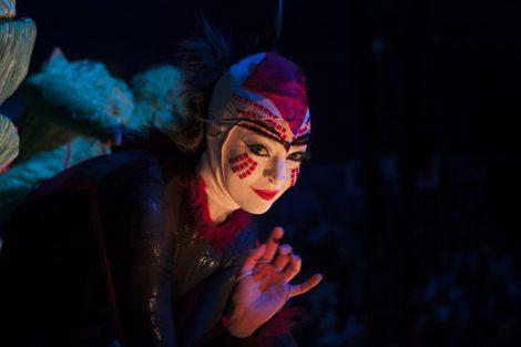 A performer from Cirque du Soleil's OVO waves to the camera during the opening night performance in Perth.